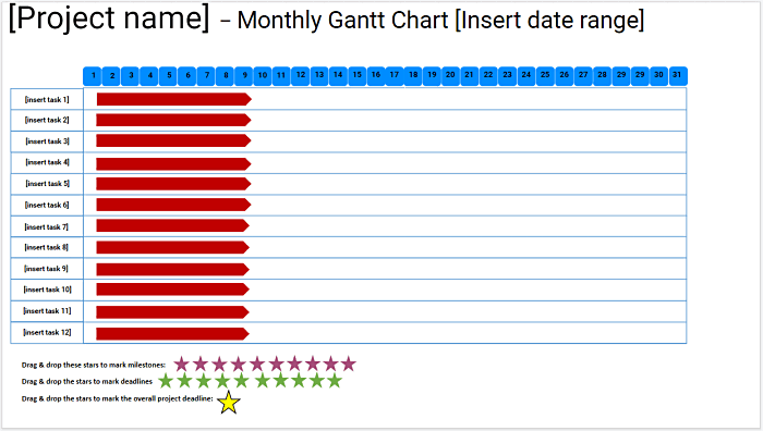 Monthly Gantt Chart