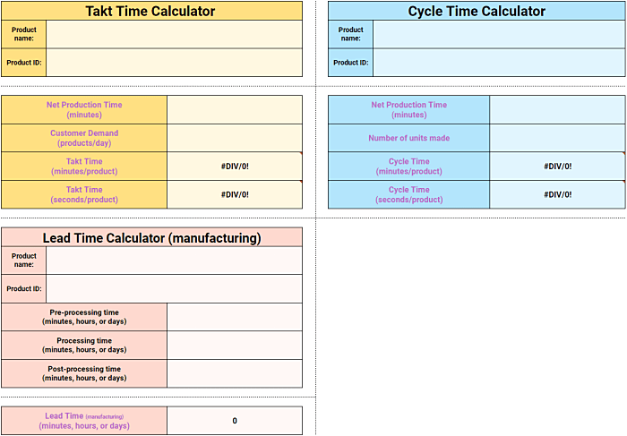 Takt Time + Cycle Time + Lead Time Calculators