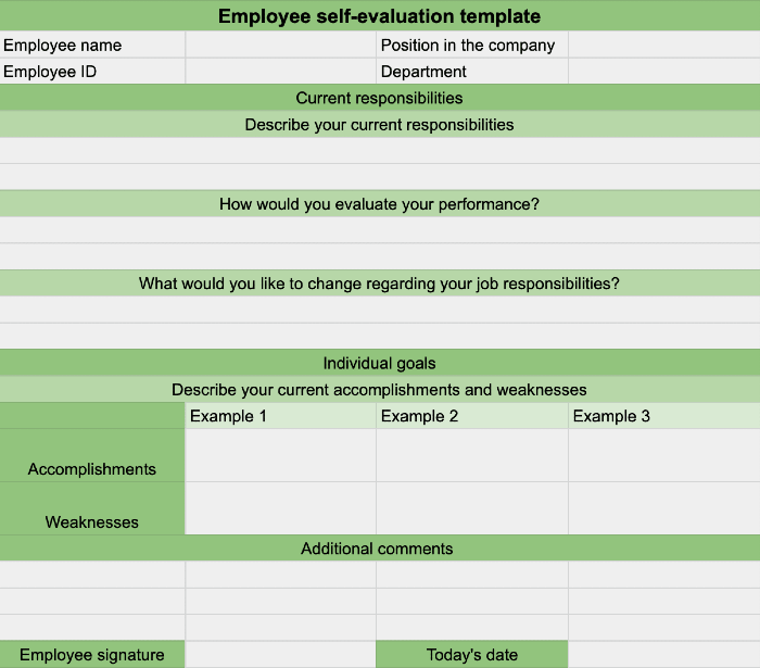 Employee self-evaluation template