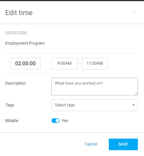edit time