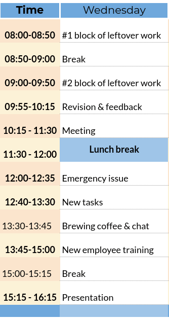 workday schedule example