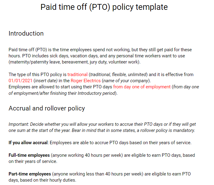 PTO policy preview