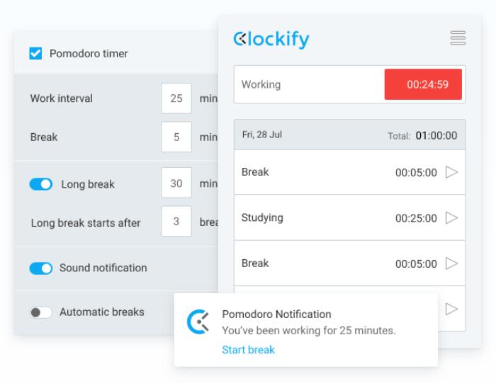 Flowtime technique in Clockify