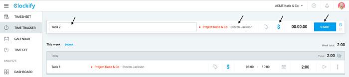 Screenshot 1 Tracking billable hours