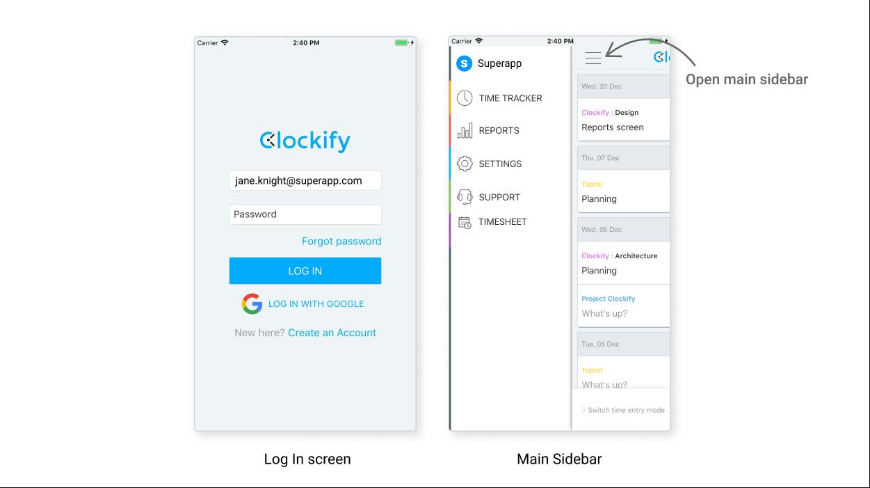 iOS Clockify app: Log-In and Sidebar screen