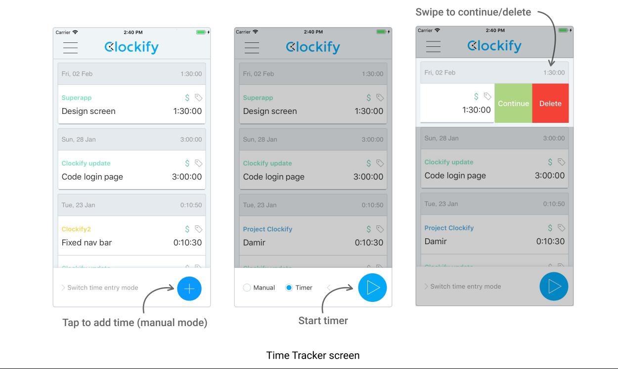 iOS Clockify app: Timer Tracker screen