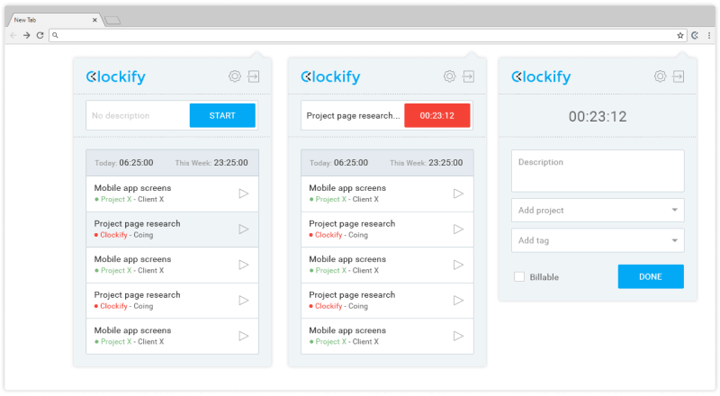 Clockify Button: browser extension for Chrome and Firefox